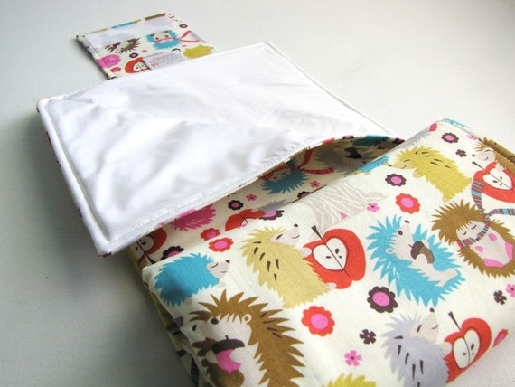 Diaper Changing Pad Roll Up - Hedgehogs - READY TO SHIP