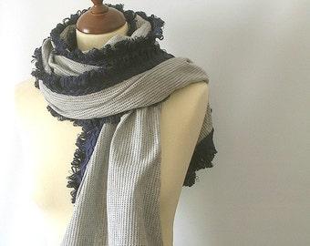 Grey  Fabric Shawl Stole