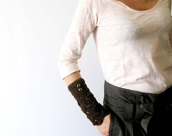 Brown Lace  Arm Warmers  Fingerless Gloves Mittens