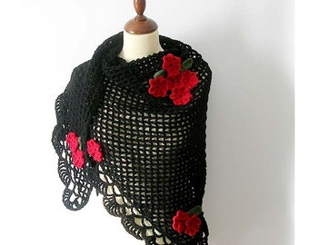Black Shawl with Poppy