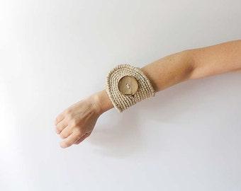Beige Cuff Bracelet  Linen and Gold Maxi Size Crochet Cuff