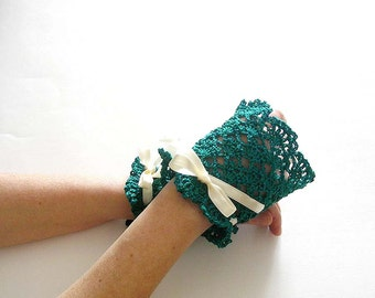 Deep Teal Lace Cuffs  Bridal Victorian Style Wedding