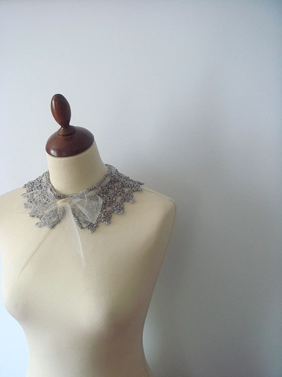 Hand Crocheted Silver Collar Necklace