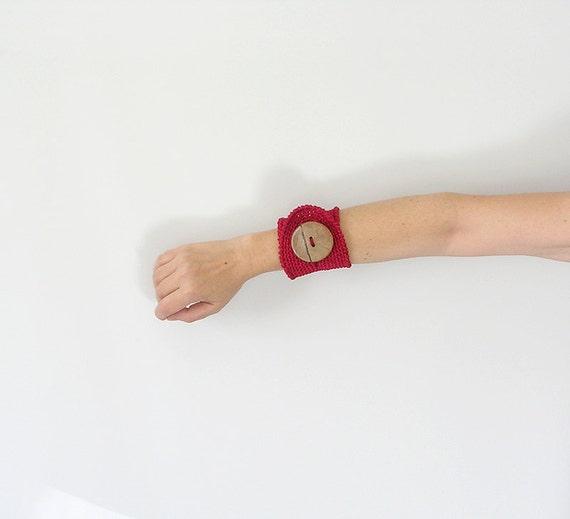 Crochet Cuff  Red Bracelet Wristlet