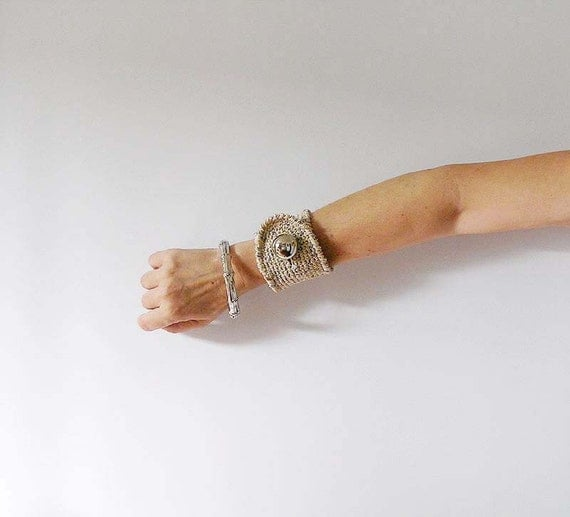 Beige Cuff  with Silver and Gold Spots