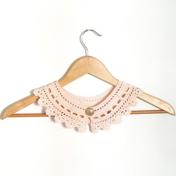 Peter Pan Lace Collar  Pink  Irish Style Detachable