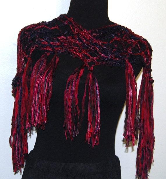 Cranberry & Eggplant Silk Handmade Crochet Scarf