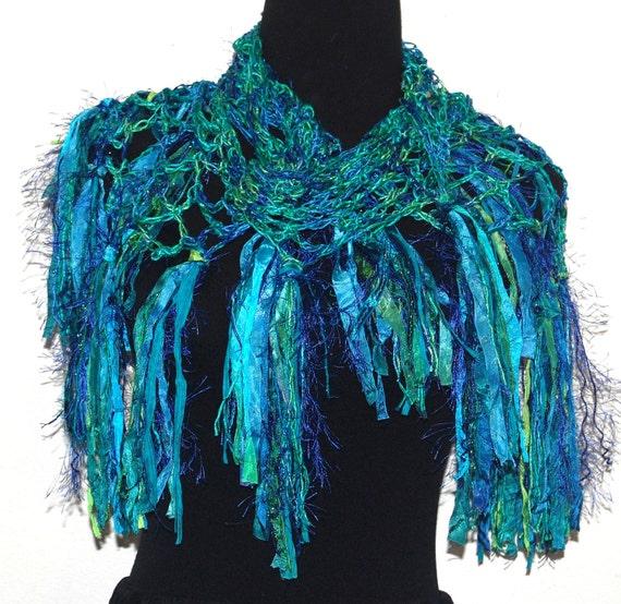 Beaded Silk Handmade Crochet Scarf