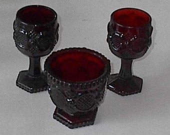 3 Pieces Avon Ruby Red