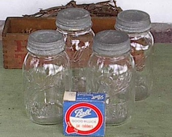 4 Ball Quart Canning or Preserving Jars
