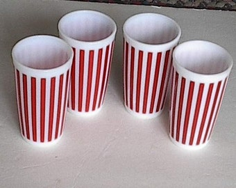 Anchor Hocking Red Stripped Glasses