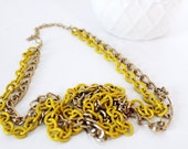 Neon Fashion Necklace Neon Yellow and Gold Chain