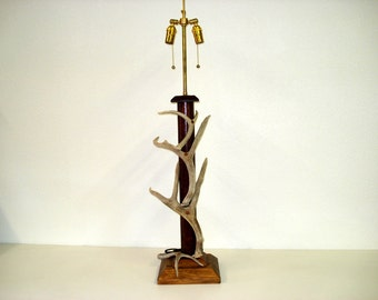 Copper and Deer Antler Table Lamp