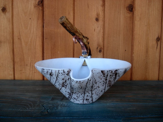Fused Glass Aspen Art Bowl with Wooden Handle and Copper Accent
