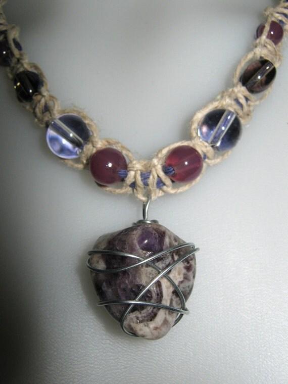Natural/Purple HEMP NECKLACE w/AMETHYST Healing Pendant 1 of a Kind