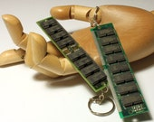 Recycled computer RAM keyring- eco-friendly upcycled vintage hardware- ideal for a quirky, green and geeky gift