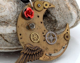 Steampunk Crescent Moon pendant with antique watch parts, red rose cabochon and wing charm- Steampunk Jewelry