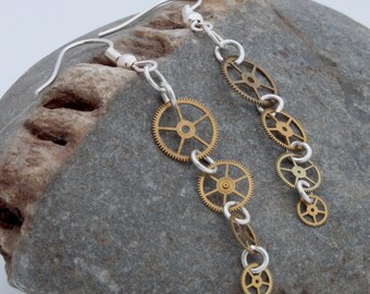 Steampunk vintage brass watch cog cascade earrings with silver plated jump rings and earring hooks