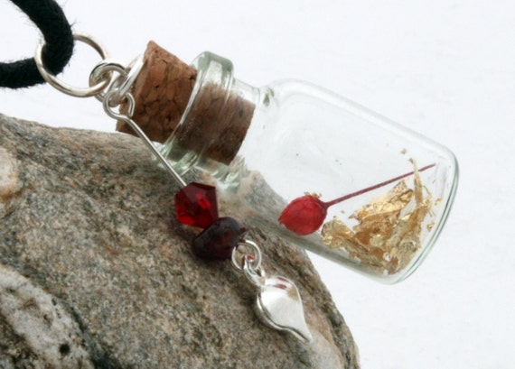 Mini red rose glass vial pendant with gold flake, tiny rose and Swarovski crystal, garnet and heart charm- Valentines jewelry