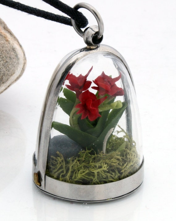 Orchid cloche terrarium pendant- Wild woodland dome locket with realistic red miniature polymer clay orchid, pebble and reindeer moss