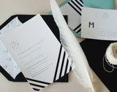 Whitman Wedding printable DIY Invitation Suite - Chevron pattern