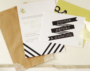 Nautical Stripe with Anchor Monogram Black and White Invitation & Reply Card