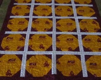 ARIZONA Sun Devils Fan Quilt ASU Made to Order, Dorm Quilt, Arizona Quilt, Arizona Graduation, Teacher, Sport's Fan Gift, CIJ