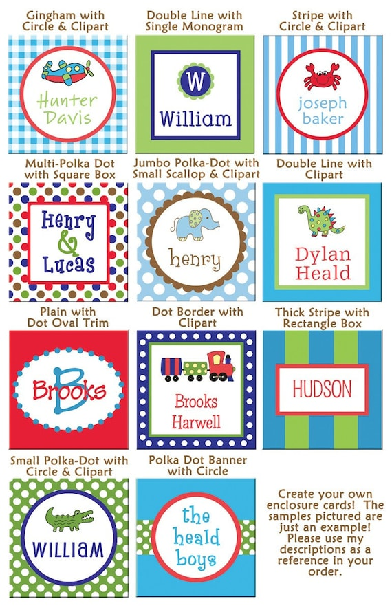24 Square Personalized Boy Enclosure Cards OR Stickers - Design your own