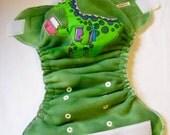 Dinosaur Applique Green Fleece OS Diaper