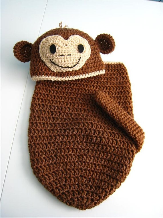 Little Monkey Newborn Baby Cocoon And Hat Set Crochet With