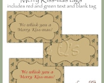 We Whisk you a Merry Kiss-mas tags - CU Digital Printable - Immediate Download