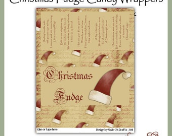 Christmas Fudge Candy Bar Wrappers (set 1) in 2 sizes - Digital Printables - Immediate Download