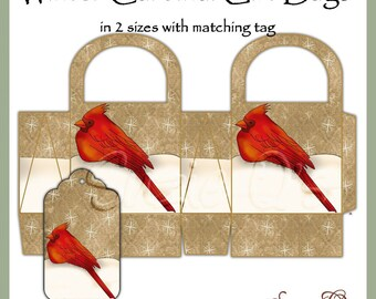Winter Cardinal Gift Bags in two sizes with matching tag - Digital Printable - Immediate Download
