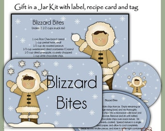 Make your own Blizzard Bites Snack Mix in a Jar - Label, Tag and Recipe - Digital Printable Kit - Great Gift Idea - Immediate Download