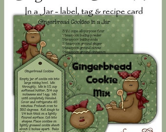 Make your own Gingerbread Cookie Mix in a Jar - Label, Tag and Recipe - Digital Printable Kit - Great Gift Idea - Immediate Download