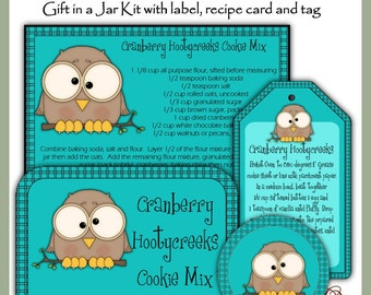 Make your own Cranberry Hootycreeks Cookie Mix in a Jar - Label, Tag and Recipe - Digital Printable Kit - Immediate Download