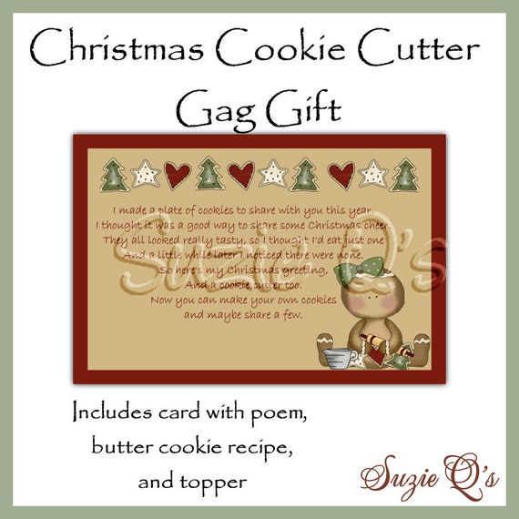 Christmas cookie cutter gag gift digital by suzieqscrafts for Christmas cookies to make for gifts