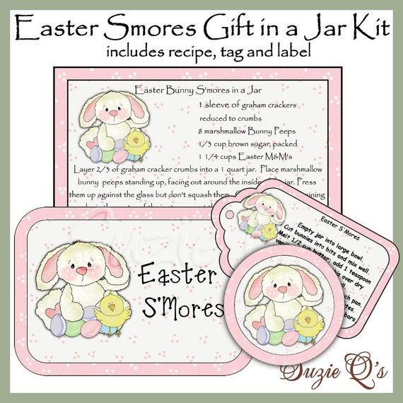 Make your own Easter S'mores Mix in a Jar - Label, Tag and Recipe - Digital Printable Kit - Great Gift Idea - Immediate Download