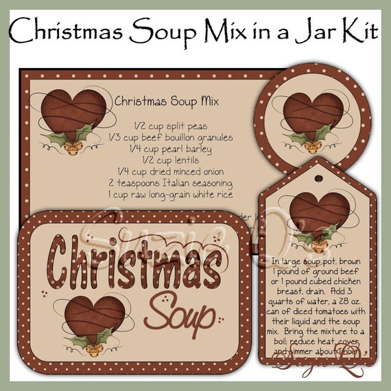 Make your own Christmas Soup Mix in a Jar - Labels, Tag and Recipe - Digital Printable Kit - Great Gift Idea - Immediate Download