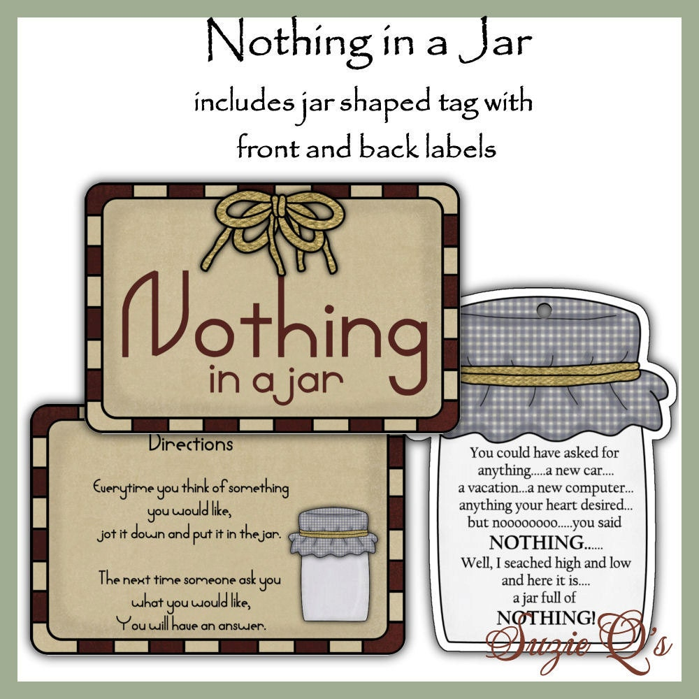 Delicate image in jar of nothing printable label free