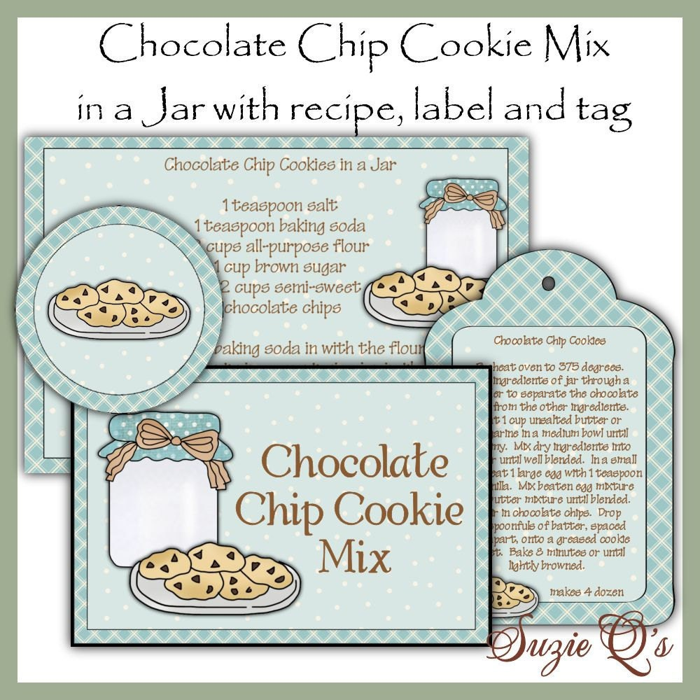 It's just a photo of Universal Chocolate Chip Cookies in a Jar Printable Tags