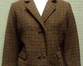 "Vintage 1960's Jacket - Brown Wool Plaid Short Fitted Blazer bust 36"""