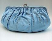 Vintage 1950's Purse - Baby Blue Satin Rhinestone Clutch by Magid