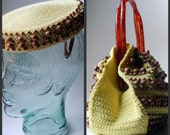 Vintage 1950's Lemon Yellow Pill Box Hat  & Purse Set - Woven Sisal with Wood Beads