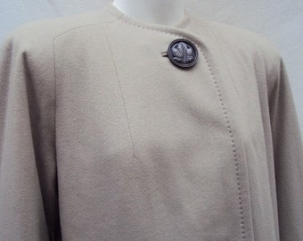 Vintage Coat 1940's Wool Taupe Swing Jacket with Large Lucite Leaf Button S/M