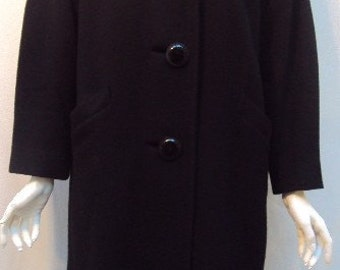 Vintage Jacket 1960's Black Cashmere Hand Tailored Coat Made in Paris by Denise