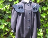 Sweet Girls Vintage Navy Blue Winter Coat with Bows
