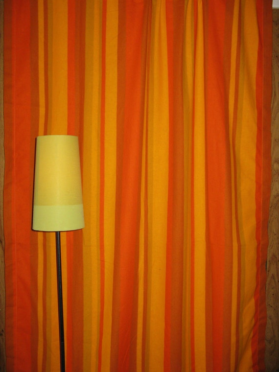 Vintage Funky 70 S Orange Striped Curtains