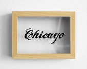 Original 'Chicago' Typographic Glass Painting, Wall Art