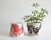 Set of 2 Abstract Flower Pots, Hand Painted